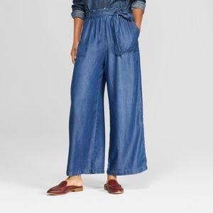 Women's Tie Waist Wide Leg Crop Pants  #64-30